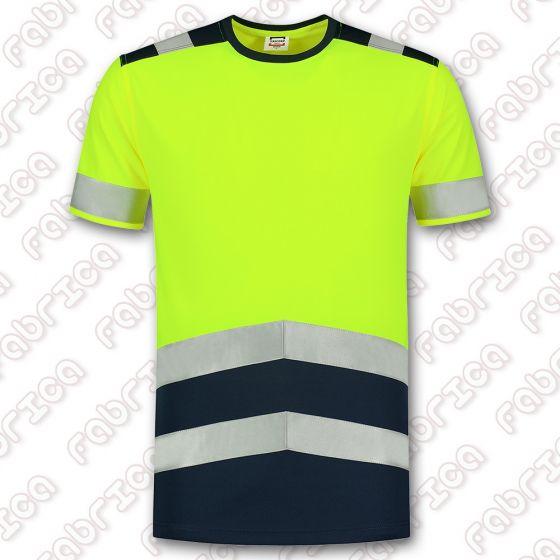 Tricou fluorescent cu benzi reflectorizante HIGH VIS Bicolor