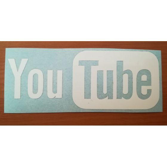 Sticker logo YouTube, 9 cm, alb
