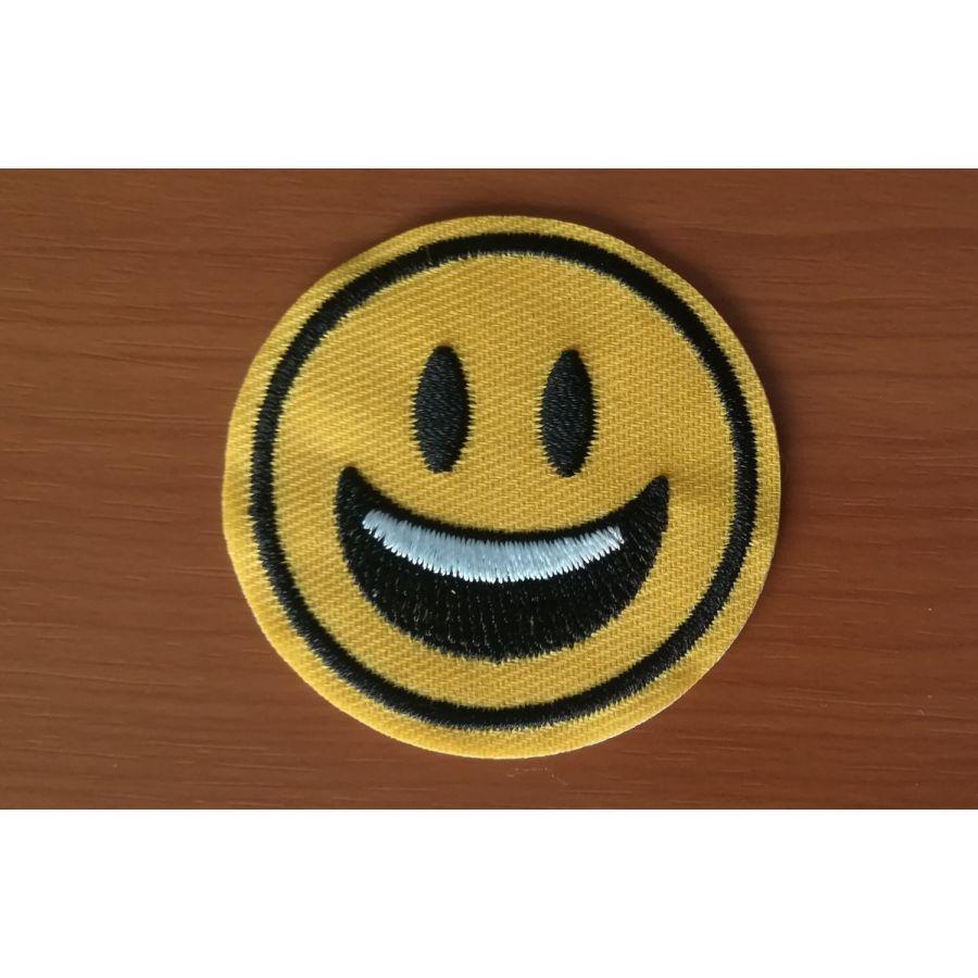 Smiley - Patch brodat adeziv, 5 cm