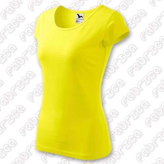 Tricou de damă Pure - 100% bumbac - culoare galben lămâie