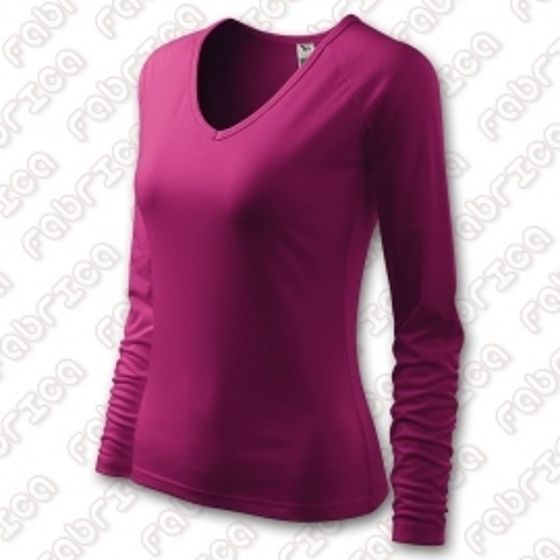 Tricou de dama Elegance, cu maneca lunga - culoare rododendron