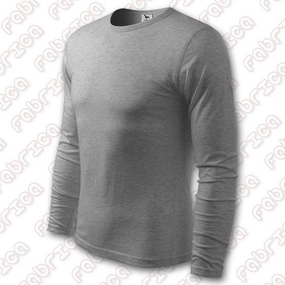 Tricou gri inchis cu maneca lunga Slim FIT, bumbac 100%, calduros pt toamna iarna