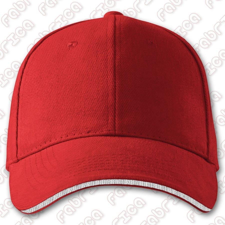 Sandwich 6P - șapcă unisex cu 6 panele, cozoroc cu inserție contrastantă