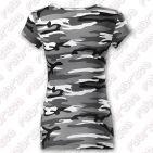 Tricou de damă Pure - 100% bumbac - culoare camuflaj gri