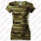 Tricou de damă Pure - 100% bumbac - culoare camuflaj verde