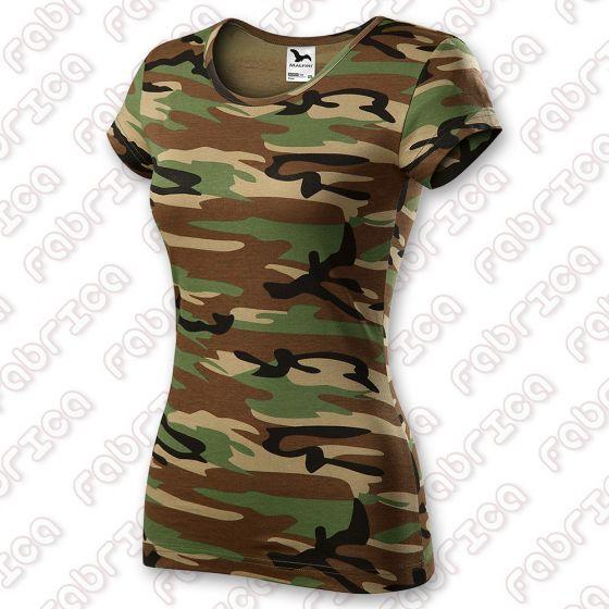 Tricou de damă Pure - 100% bumbac - culoare camuflaj maro