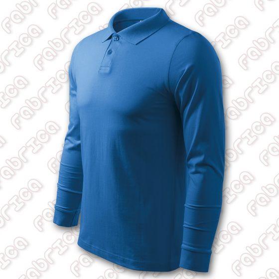 Tricou polo cu mânecă lungă, single jersey